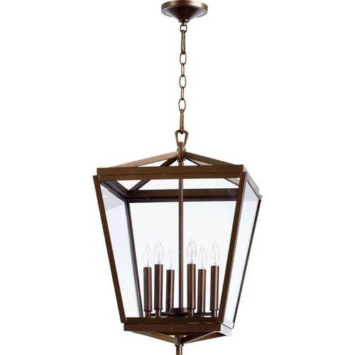 Quorum International Kaufmann Oiled Bronze Six Light Entry Light with Clear Glass
