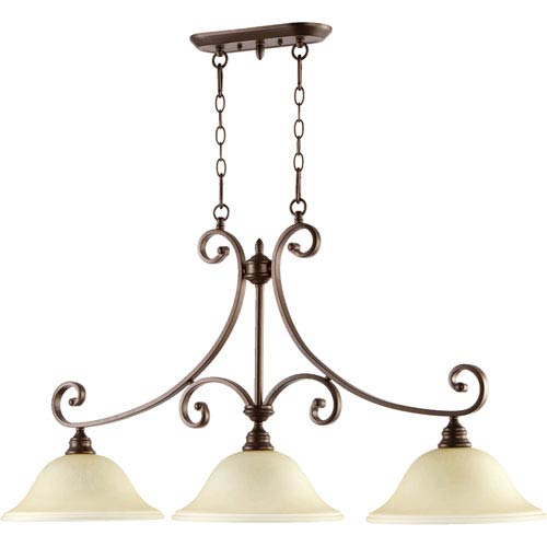 Quorum International Bryant Oiled Bronze 23.5-Inch Three Light Island Light with Amber Scavo Glass