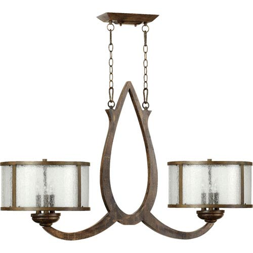 Quorum International Telluride Early American Six Light Island Light with Clear Seeded Glass