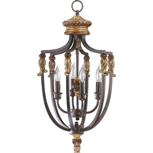 Capella Four-Light Toasted Sienna with Golden Fawn Lantern Pendant