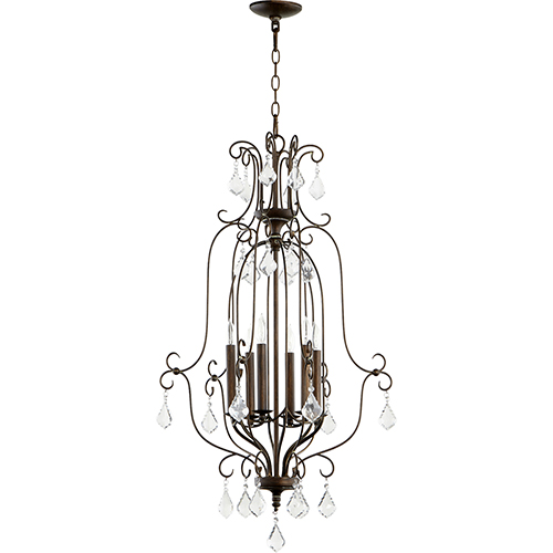 Quorum International Ariel Vintage Copper Six-Light 21-Inch Chandelier