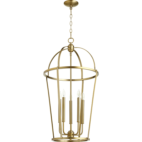 Quorum International Aged Brass Five-Light 18-Inch Pendant