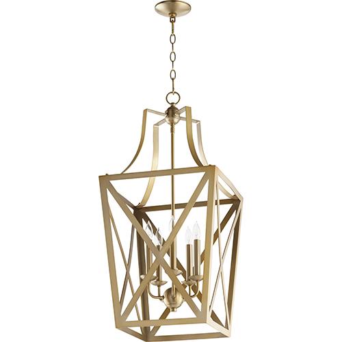 Quorum International Aged Brass Five-Light 15-Inch Pendant