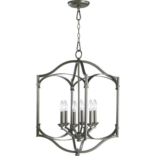 Quorum International Atwood Six-Light Oiled Bronze with Antique Gold Lantern Pendant