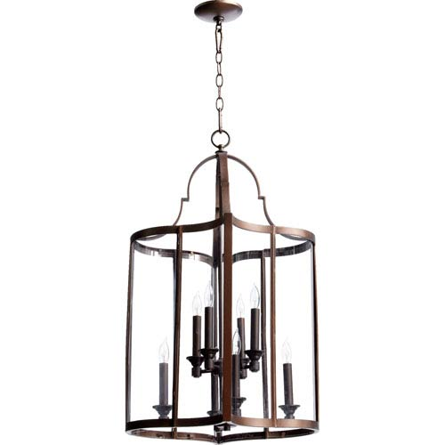 Quorum International Kaufmann Oiled Bronze 30.25-Inch Eight Light Entry Light with Clear Glass