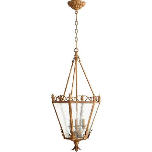 Salento French Umber 32.5-Inch Three Light Entry with Clear Seeded Glass