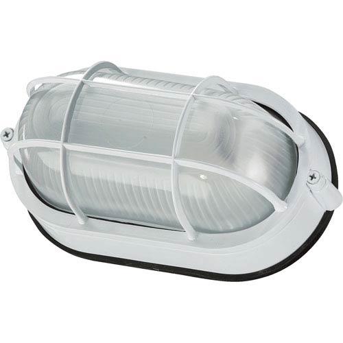 White One-Light Oval Outdoor Flush Mount