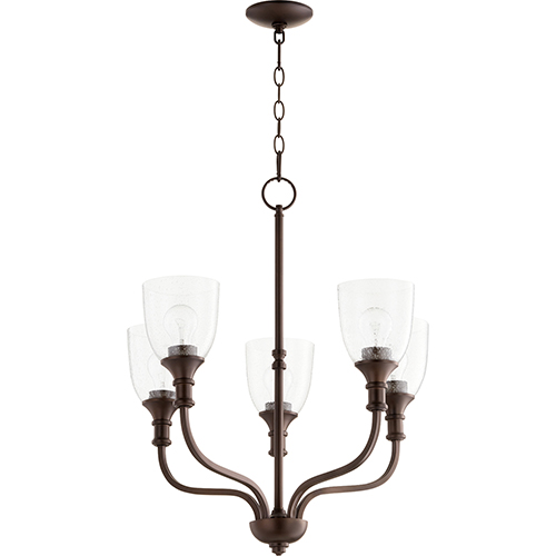 Quorum International Richmond Oiled Bronze Five-Light 24-Inch Chandelier with Clear Seeded Glass