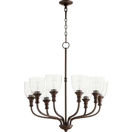 Richmond Oiled Bronze Eight-Light 31-Inch Chandelier with Clear Seeded Glass