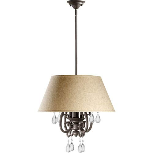 Quorum International Anders Oiled Bronze Four Light Pendant with Linen Shade
