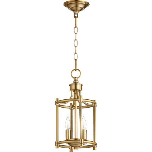 Rossington Aged Brass Two-Light 8-Inch Mini Pendant