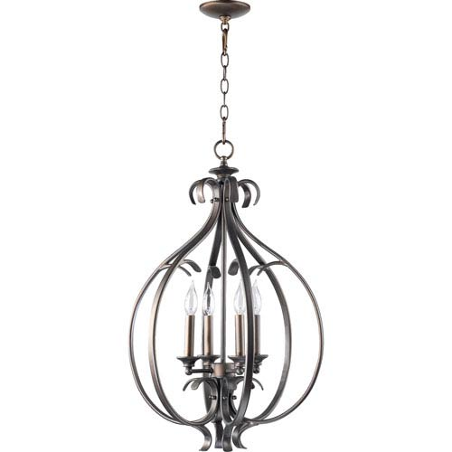 Quorum International Randolph Four-Light Oiled Bronze with Antique Gold Lantern Pendant