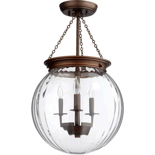 Globe Oiled Bronze 13-Inch Three-Light Pendant with Clear Glass