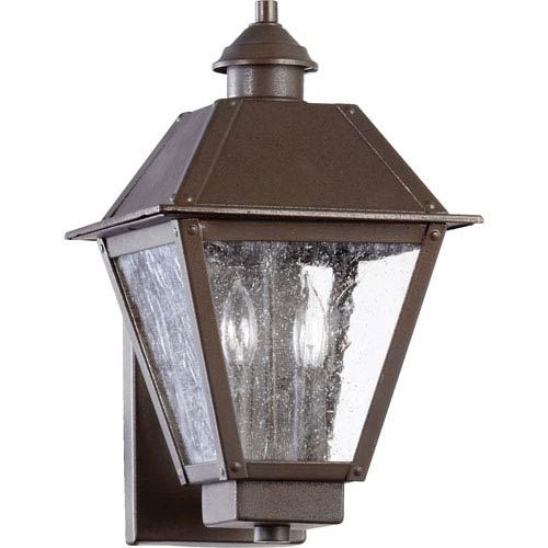 Emile Oiled Bronze Two Light Outdoor Wall Scone with Clear Seeded Glass