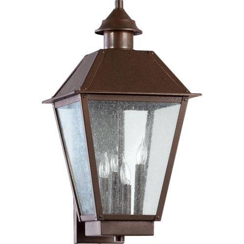 Quorum International Emile Oiled Bronze Four Light Outdoor Wall Sconce with Clear Seeded Glass