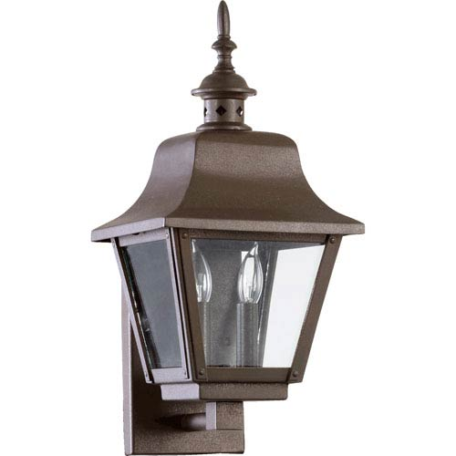 Quorum International Bishop Oiled Bronze Two Light Outdoor Wall Scone with Clear Glass
