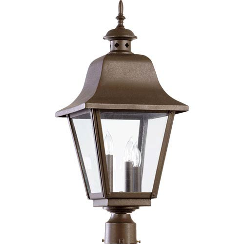 Bishop Oiled Bronze 24.5-Inch Three Light Outdoor Post Lantern with Clear Glass