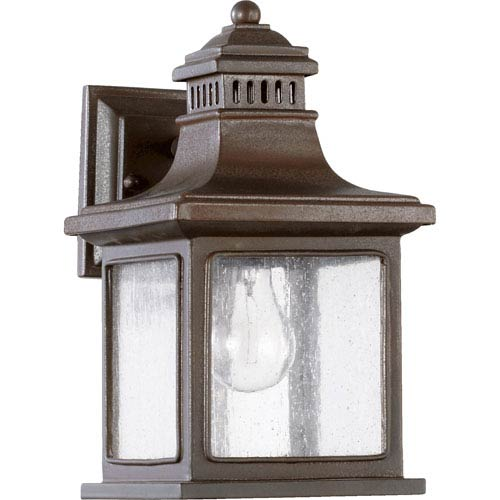 Quorum International Magnolia Oiled Bronze One Light Outdoor Wall Sconce with Clear Seeded Glass