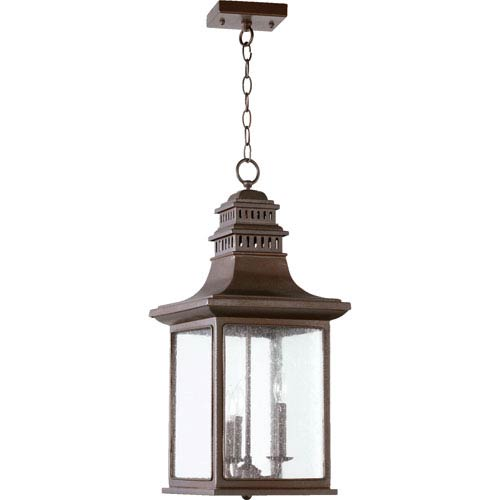 Quorum International Magnolia Oiled Bronze Three Light Outdoor Pendant with Clear Seeded Glass