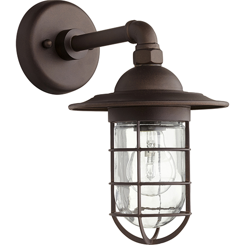 Quorum International Bowery Oiled Bronze One-Light 7.5-Inch Outdoor Wall Sconce
