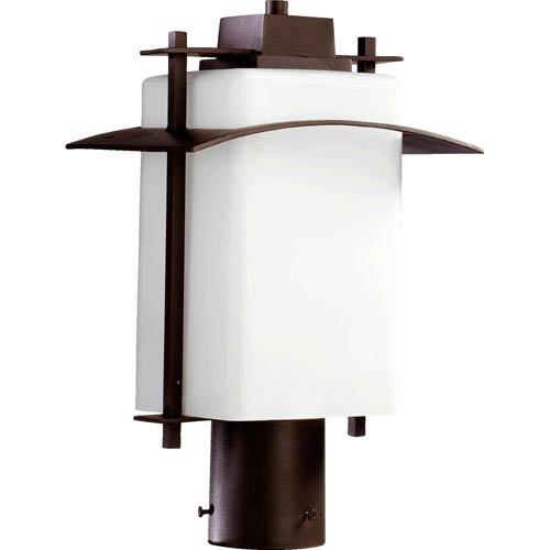 Quorum International Kirkland Oiled Bronze One Light Outdoor Post Lantern with Satin Opal Glass