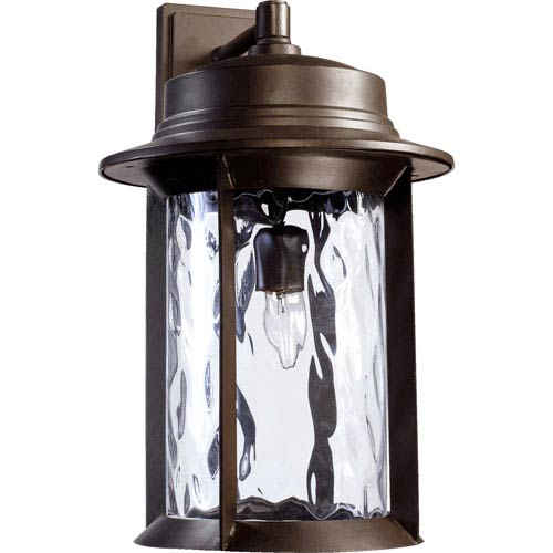 Quorum International Charter Oiled Bronze One Light Outdoor Wall Sconce with Clear Hammered Glass