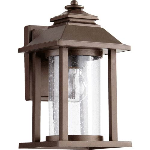 Quorum International Crusoe Oiled Bronze One Light Outdoor Lantern with Clear Seeded Glass