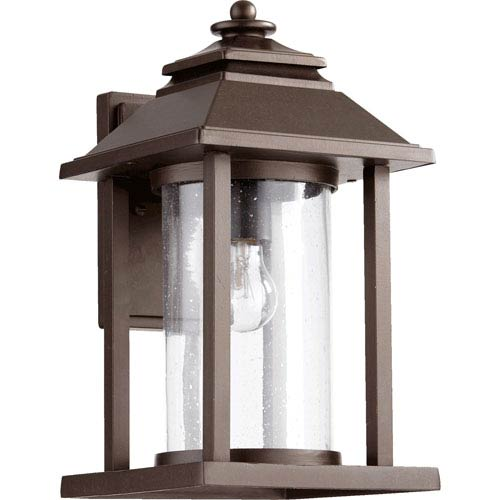 Quorum International Crusoe Oiled Bronze 16-Inch One Light Outdoor Lantern with Clear Seeded Glass