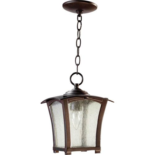 Quorum International Gable Oiled Bronze One Light Outdoor Pendant with Clear Seeded Glass