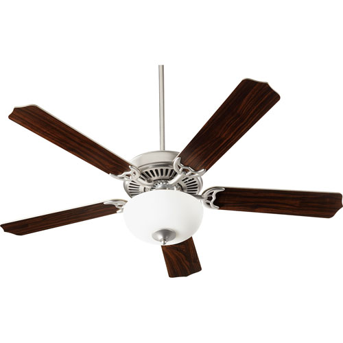 Quorum International Capri Viii Satin Nickel with Satin Opal Two-Light Energy Star 52-Inch LED Ceiling Fan
