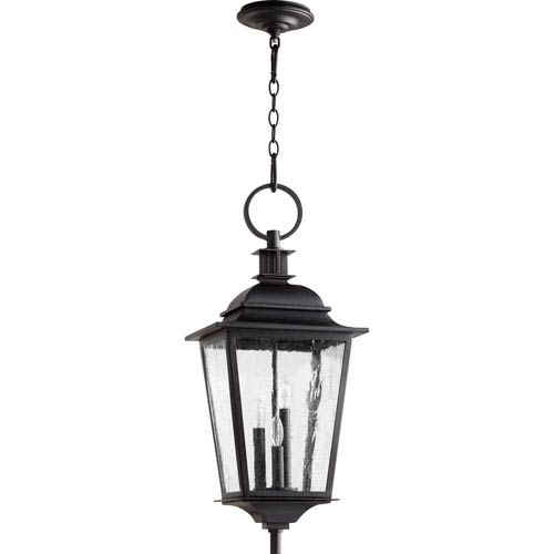 Pavilion Noir Three-Light 12-Inch Outdoor Pendant
