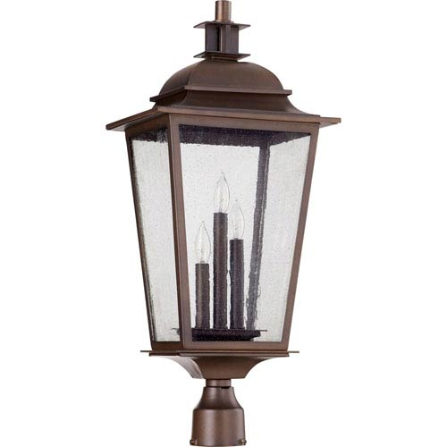 Pavilion Oiled Bronze Three-Light 12-Inch Outdoor Post Light