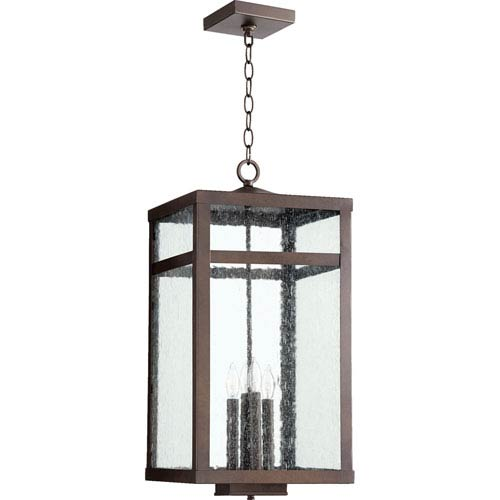 Quorum International Clermont Oiled Bronze 12-Inch Four-Light Outdoor Pendant