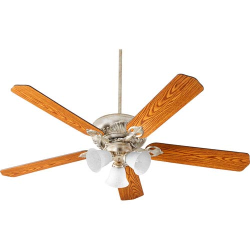 Chateaux Aged Silver Leaf with White Linen Three-Light 60-Inch Ceiling Fan