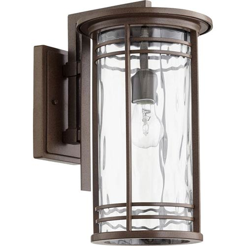 Quorum International Larson Oiled Bronze with Clear Hammered Glass 9-Inch One-Light Outdoor Wall Mount