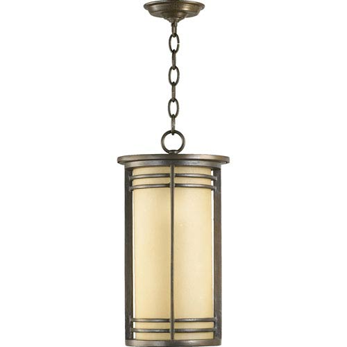 Larson One-Light Oiled Bronze with Antique Gold Outdoor Pendant
