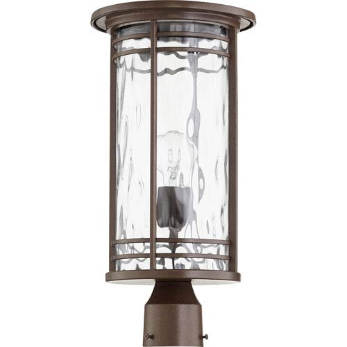 Quorum International Larson Oiled Bronze with Clear Hammered Glass One-Light Outdoor Post Light