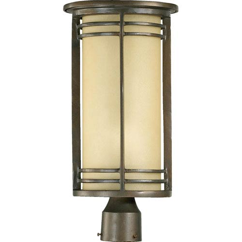 Larson One-Light Oiled Bronze with Antique Gold Outdoor Post Light