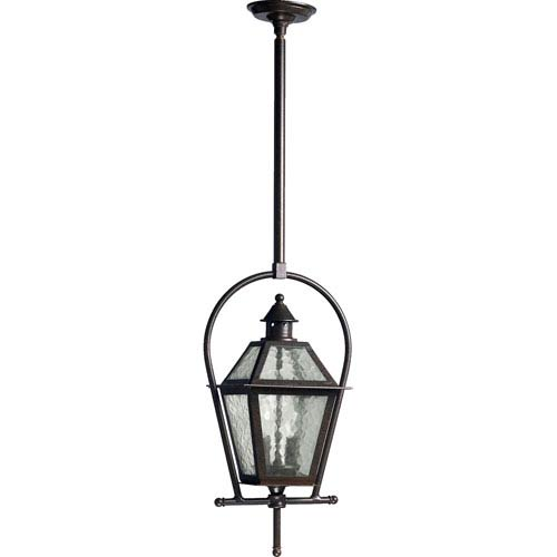 Quorum International French Quarter Two Light Oiled Bronze With Antique Gold Outdoor Pendant