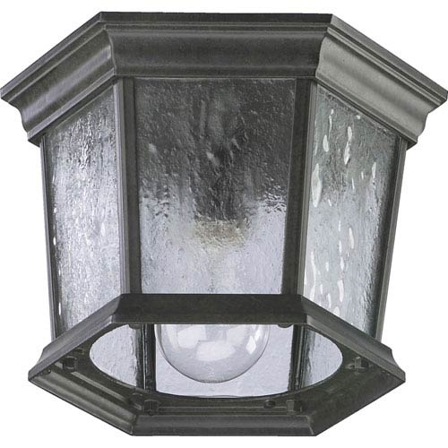 Quorum International Timberland Granite One Light Outdoor Flush Mount with Water Seeded Glass
