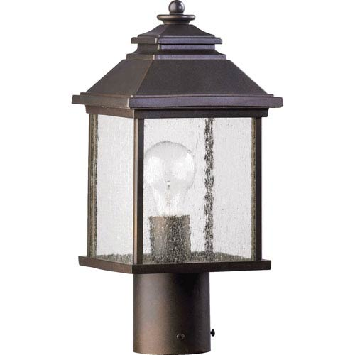 Pearson One-Light Oiled Bronze with Antique Gold Outdoor Post Light
