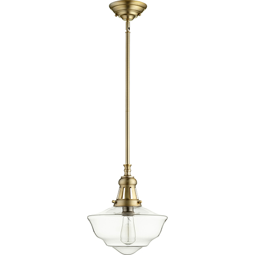 Aged Brass with Clear One-Light 12-Inch Pendant