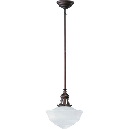 Schoolhouse One-Light Oiled Bronze with Antique Gold Pendant