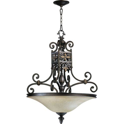 Quorum International Marcela Four-Light Oiled Bronze with Antique Gold Pendant