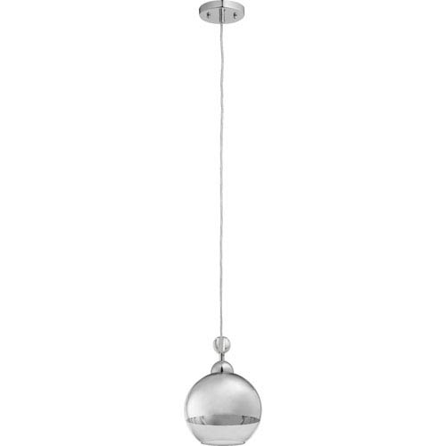 Quorum International Chrome One Light Mini Pendant with Clear Glass