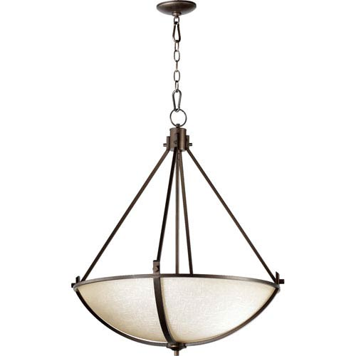 Quorum International Winslet Ii Oiled Bronze 31-Inch Four Light Pendant with Linen Shade