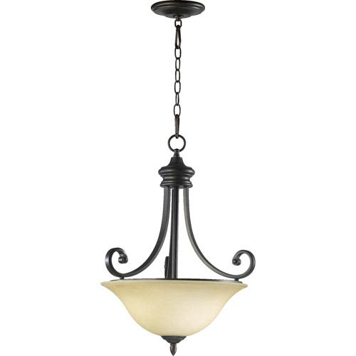 Quorum International Bryant Three-Light Oiled Bronze with Antique Gold Pendant