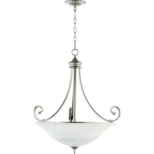 Quorum International Bryant Classic Nickel 29.5-Inch Four Light Pendant with Faux Labaster Glass