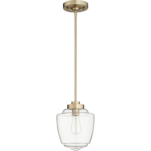 Quorum International Aged Brass One-Light 9-Inch Mini Pendant