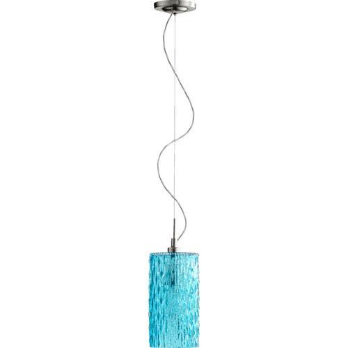 Quorum International Satin Nickel One Light Mini Pendant with Aqua Glass